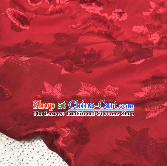 Asian Chinese Classical Lotus Design Pattern Red Brocade Traditional Cheongsam Satin Fabric Tang Suit Silk Material