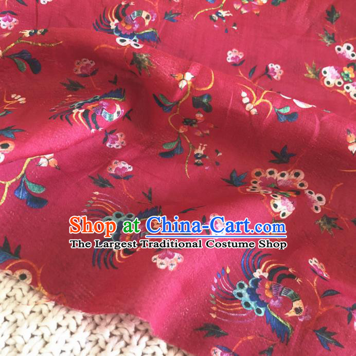 Asian Chinese Classical Design Pattern Red Brocade Traditional Cheongsam Satin Fabric Tang Suit Silk Material