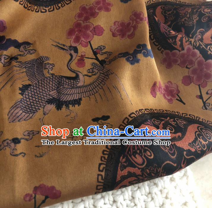 Asian Chinese Classical Cranes Design Pattern Yellow Brocade Traditional Cheongsam Satin Fabric Tang Suit Silk Material