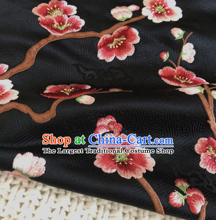Asian Chinese Classical Plum Blossom Design Pattern Black Brocade Traditional Cheongsam Satin Fabric Tang Suit Silk Material