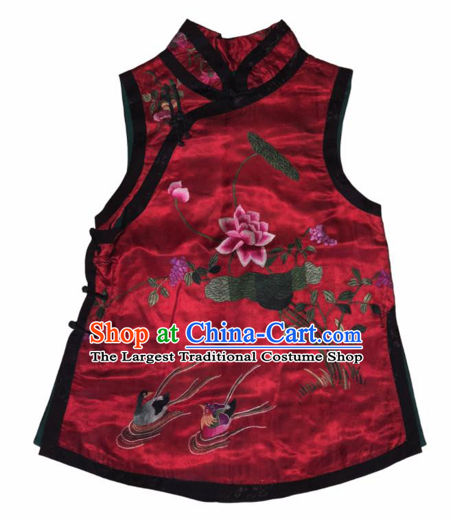 Chinese Traditional Embroidered Lotus Red Silk Qipao Vest National Costume Tang Suit Waistcoat for Women