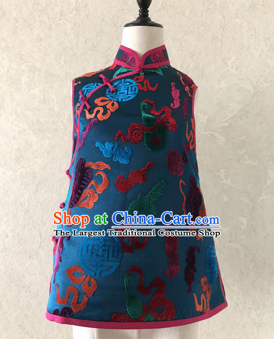 Chinese Traditional Embroidered Blue Silk Qipao Vest National Costume Tang Suit Waistcoat for Women