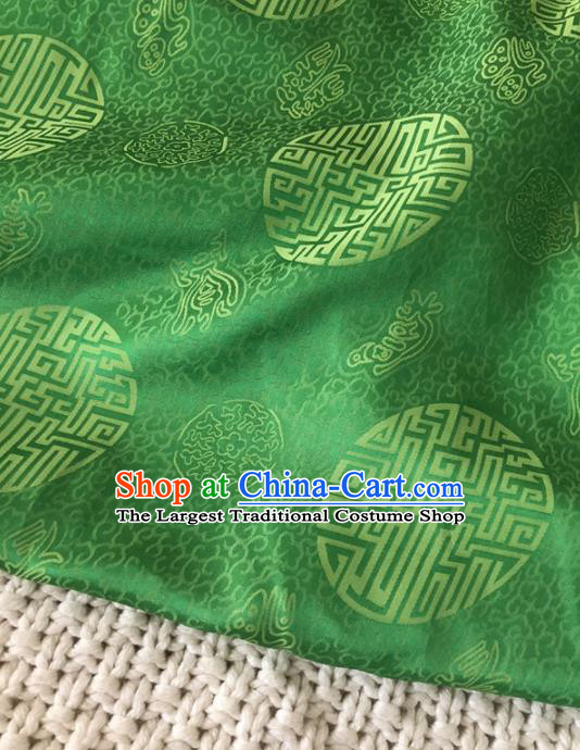 Asian Chinese Classical Design Pattern Green Brocade Traditional Cheongsam Satin Fabric Tang Suit Silk Material