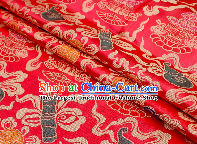Asian Chinese Classical Calabash Design Pattern Red Brocade Traditional Cheongsam Satin Fabric Tang Suit Silk Material