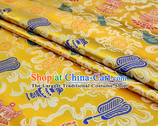 Asian Chinese Classical Calabash Design Pattern Yellow Brocade Traditional Cheongsam Satin Fabric Tang Suit Silk Material