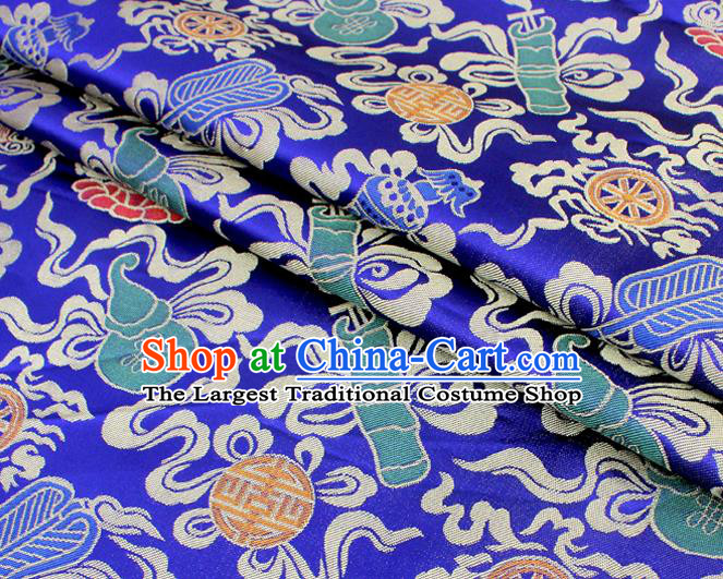 Asian Chinese Classical Calabash Design Pattern Royalblue Brocade Traditional Cheongsam Satin Fabric Tang Suit Silk Material
