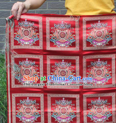 Asian Chinese Classical Religion Pattern Red Nanjing Brocade Traditional Tibetan Robe Satin Fabric Silk Material