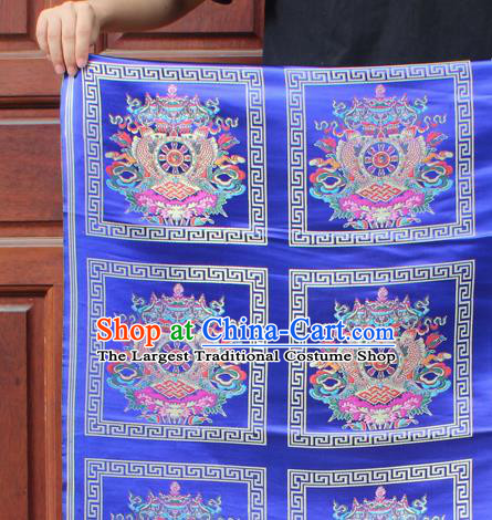 Asian Chinese Classical Religious Buddhism Pattern Royalblue Nanjing Brocade Traditional Tibetan Robe Satin Fabric Silk Material