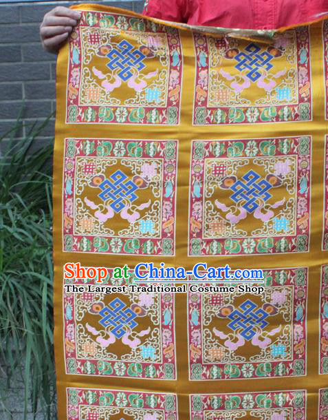 Asian Chinese Classical Buddhism Lucky Pattern Golden Nanjing Brocade Traditional Tibetan Robe Satin Fabric Silk Material