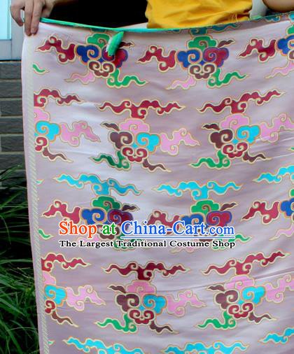 Asian Chinese Classical Buddhism Clouds Pattern White Nanjing Brocade Traditional Tibetan Robe Satin Fabric Silk Material