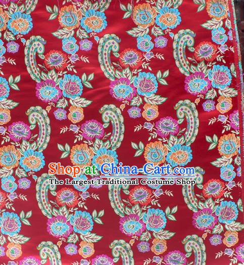 Asian Chinese Classical Flowers Pattern Red Nanjing Brocade Traditional Tibetan Robe Satin Fabric Silk Material
