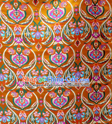 Asian Chinese Classical Tulip Flowers Pattern Golden Nanjing Brocade Traditional Tibetan Robe Satin Fabric Silk Material