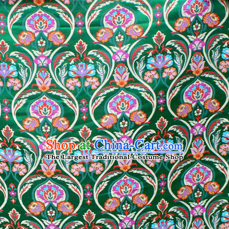 Asian Chinese Classical Tulip Flowers Pattern Green Nanjing Brocade Traditional Tibetan Robe Satin Fabric Silk Material