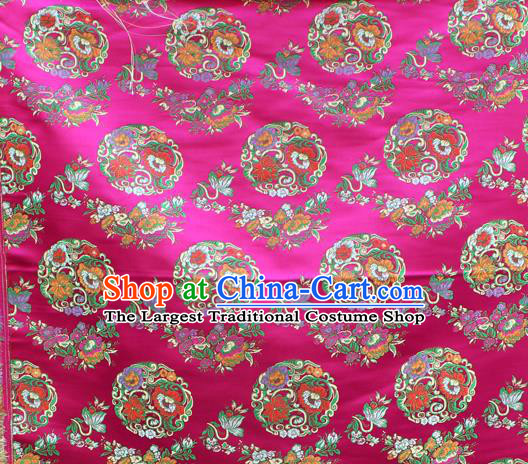 Asian Chinese Classical Lotus Flowers Pattern Rosy Nanjing Brocade Traditional Tibetan Robe Satin Fabric Silk Material