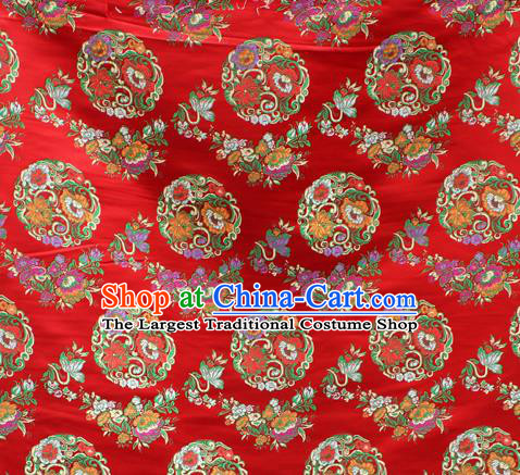 Asian Chinese Classical Lotus Flowers Pattern Purplish Red Nanjing Brocade Traditional Tibetan Robe Satin Fabric Silk Material