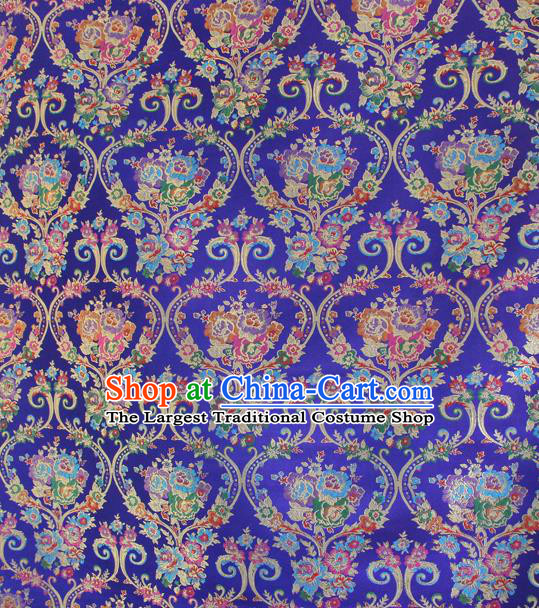 Asian Chinese Classical Flowers Vase Pattern Royalblue Nanjing Brocade Traditional Tibetan Robe Satin Fabric Silk Material