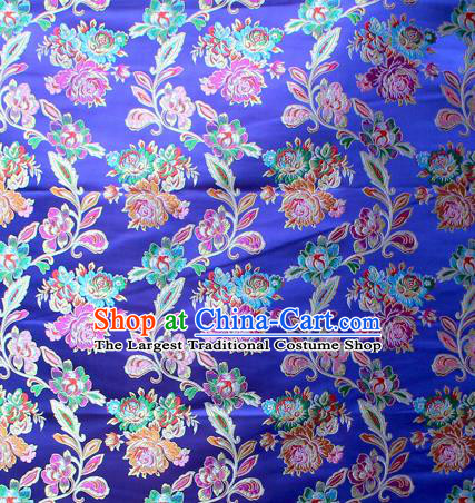 Asian Chinese Classical Peony Flowers Pattern Royalblue Nanjing Brocade Traditional Tibetan Robe Satin Fabric Silk Material