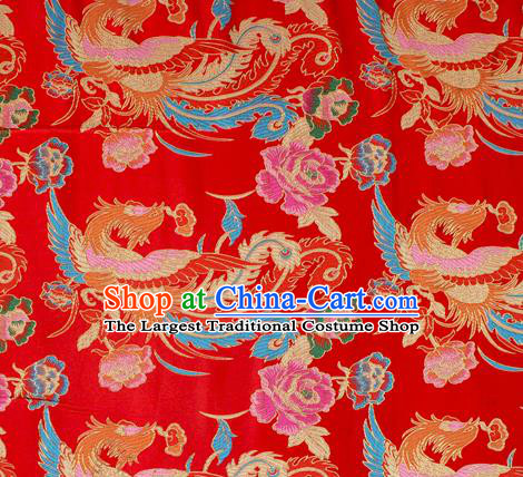 Asian Chinese Classical Phoenix Peony Pattern Red Nanjing Brocade Traditional Tibetan Robe Satin Fabric Silk Material