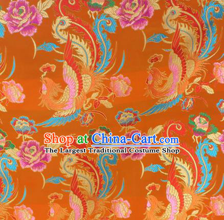 Asian Chinese Classical Phoenix Peony Pattern Yellow Nanjing Brocade Traditional Tibetan Robe Satin Fabric Silk Material