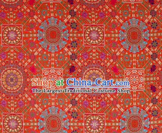 Asian Chinese Classical Buddhism Lotus Pattern Red Nanjing Brocade Traditional Tibetan Robe Satin Fabric Silk Material