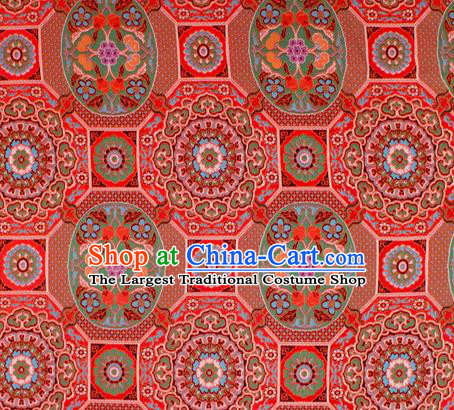 Asian Chinese Classical Galsang Flowers Pattern Red Nanjing Brocade Traditional Tibetan Robe Satin Fabric Silk Material