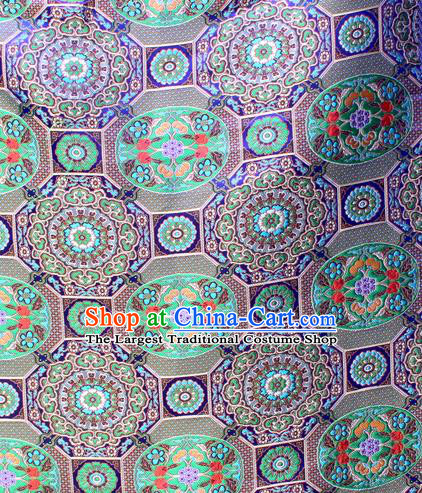 Asian Chinese Classical Galsang Flowers Pattern Royalblue Nanjing Brocade Traditional Tibetan Robe Satin Fabric Silk Material