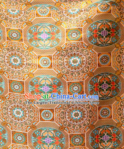 Asian Chinese Classical Galsang Flowers Pattern Golden Nanjing Brocade Traditional Tibetan Robe Satin Fabric Silk Material