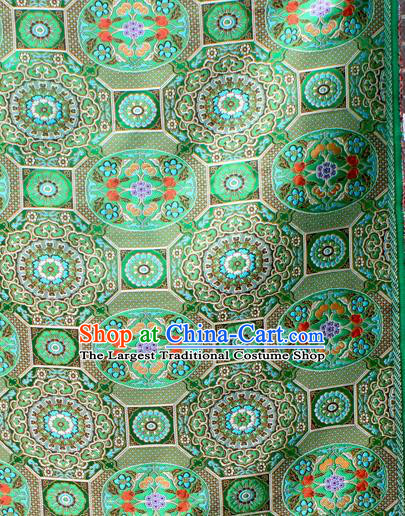 Asian Chinese Classical Galsang Flowers Pattern Green Nanjing Brocade Traditional Tibetan Robe Satin Fabric Silk Material