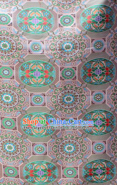 Asian Chinese Classical Galsang Flowers Pattern White Nanjing Brocade Traditional Tibetan Robe Satin Fabric Silk Material