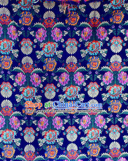 Asian Chinese Classical Flowers Pattern Blue Nanjing Brocade Traditional Tibetan Robe Satin Fabric Silk Material