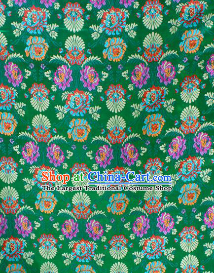 Asian Chinese Classical Flowers Pattern Green Nanjing Brocade Traditional Tibetan Robe Satin Fabric Silk Material