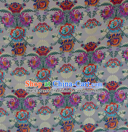 Asian Chinese Classical Flowers Pattern White Nanjing Brocade Traditional Tibetan Robe Satin Fabric Silk Material