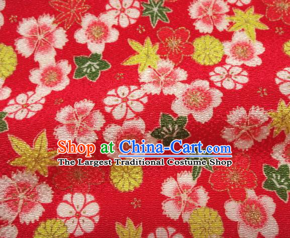 Asian Traditional Classical Sakura Pattern Red Tapestry Satin Brocade Fabric Japanese Kimono Silk Material