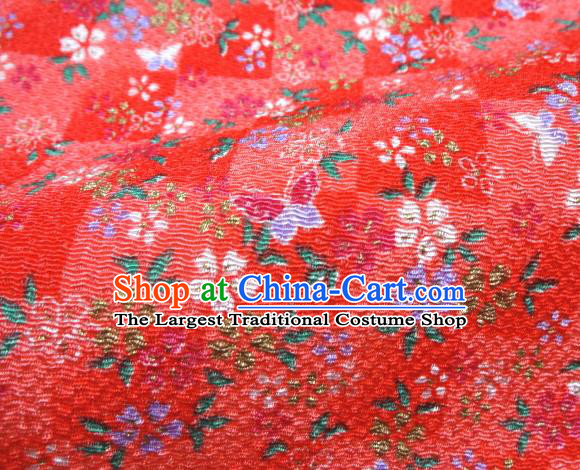 Asian Traditional Classical Butterfly Flowers Pattern Red Tapestry Satin Brocade Fabric Japanese Kimono Silk Material