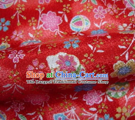 Asian Traditional Classical Sakura Fan Pattern Red Tapestry Satin Brocade Fabric Japanese Kimono Silk Material