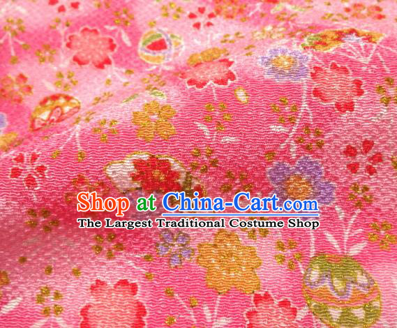 Asian Traditional Classical Sakura Fan Pattern Pink Tapestry Satin Brocade Fabric Japanese Kimono Silk Material