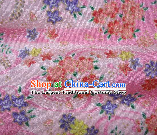Asian Traditional Classical Oriental Cherry Pattern Pink Tapestry Satin Brocade Fabric Japanese Kimono Silk Material