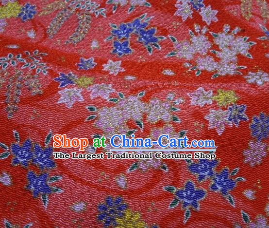 Asian Traditional Classical Oriental Cherry Pattern Red Tapestry Satin Brocade Fabric Japanese Kimono Silk Material
