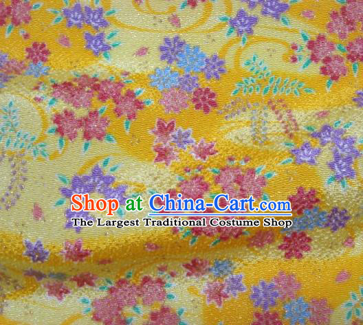 Asian Traditional Classical Oriental Cherry Pattern Yellow Tapestry Satin Brocade Fabric Japanese Kimono Silk Material