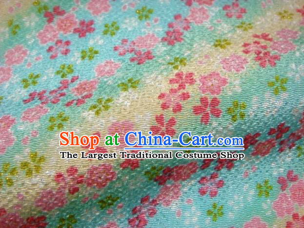 Asian Traditional Classical Oriental Cherry Pattern Blue Tapestry Satin Brocade Fabric Japanese Kimono Silk Material