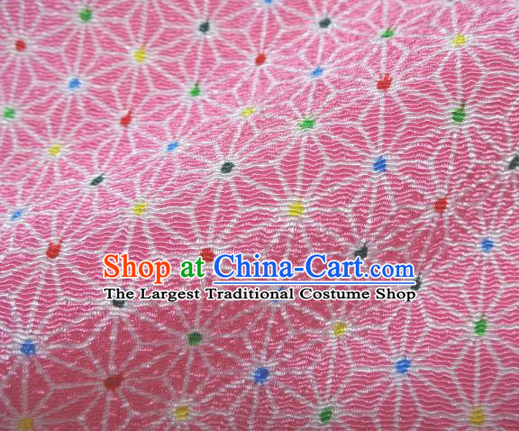 Asian Traditional Classical Pattern Pink Tapestry Satin Brocade Fabric Japanese Kimono Silk Material