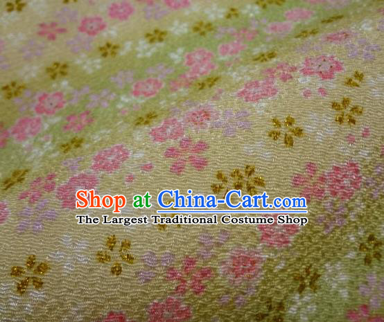 Asian Traditional Classical Oriental Cherry Pattern Golden Tapestry Satin Brocade Fabric Japanese Kimono Silk Material