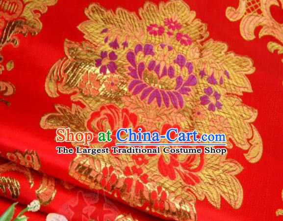 Asian Chinese Classical Leaf Flowers Pattern Red Brocade Traditional Tibetan Robe Satin Fabric Silk Material
