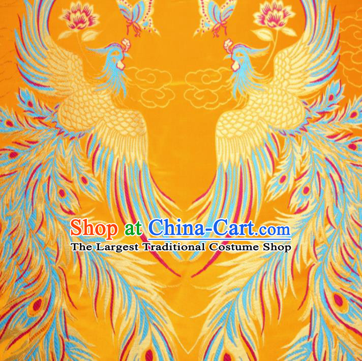 Asian Chinese Classical Phoenix Butterfly Pattern Yellow Brocade Traditional Tibetan Robe Satin Fabric Silk Material