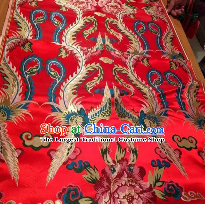 Asian Chinese Classical Phoenix Peony Pattern Red Brocade Traditional Tibetan Robe Satin Fabric Silk Material