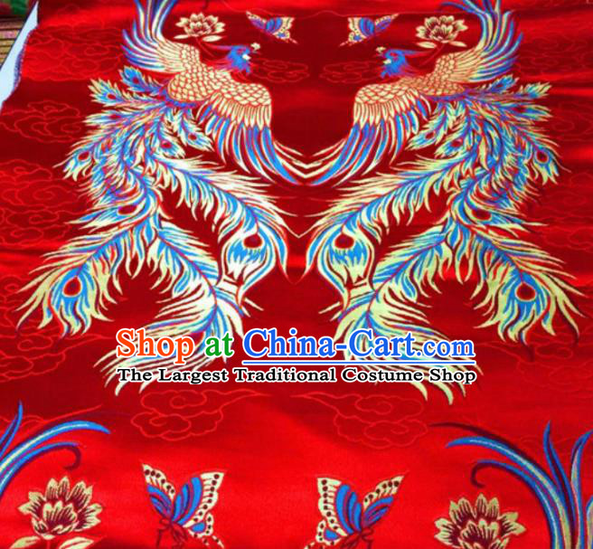 Asian Chinese Classical Phoenix Butterfly Pattern Red Brocade Traditional Tibetan Robe Satin Fabric Silk Material