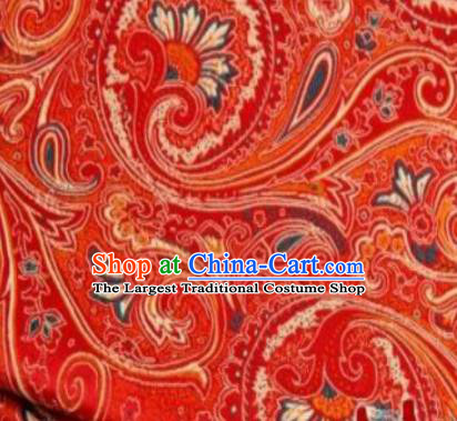 Asian Chinese Classical Peacock Feather Pattern Red Brocade Traditional Tibetan Robe Satin Fabric Silk Material