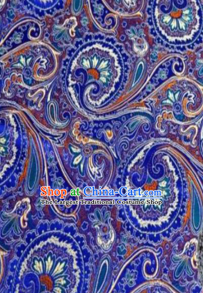 Asian Chinese Classical Peacock Feather Pattern Royalblue Brocade Traditional Tibetan Robe Satin Fabric Silk Material