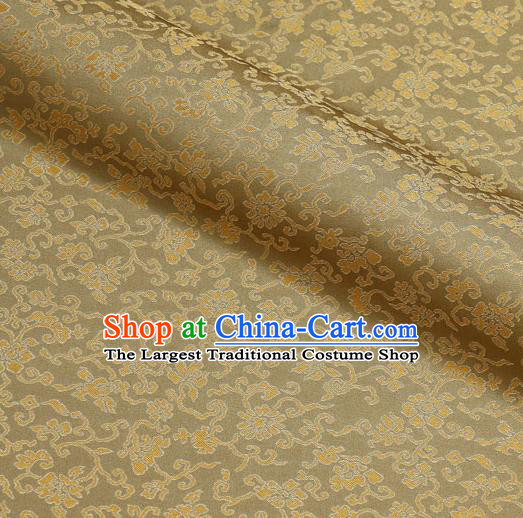 Asian Traditional Classical Acanthus Pattern Golden Brocade Fabric Japanese Kimono Satin Silk Material