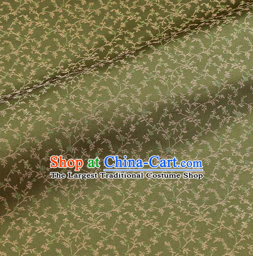 Asian Traditional Classical Acanthus Pattern Green Brocade Fabric Japanese Kimono Satin Silk Material
